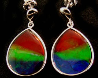 Pair of Natural rainbow  Color pear Shaped Canadian AAA Ammolite earrings set in Sterling Silver.