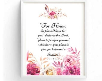 Printable art, Jeremiah 29:11, Typography