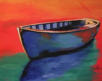 "Original Boat Painting ""Calm Ocean Water"""