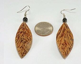 Feather Earrings – Hanger Earrings - Coconut Wood