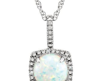 "Sterling Silver Lab-Grown Opal 18"" Necklace"