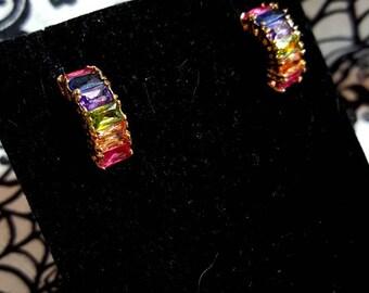 Beautiful multi Stone costume post earrings
