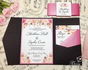 Black and Pink Wedding Invitations, Black and Hot Pink Wedding, Pocketfold Wedding Invitation, Pink Wedding, Black Wedding Invitation, #C24
