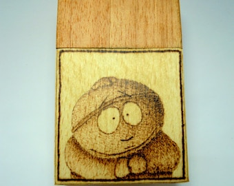 Wooden cigarette box (anigre and white beech wood) with burned in Eric and Kyle from South Park