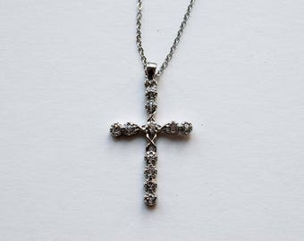 Cross Necklace, Silver Tone