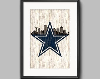Dallas Cowboys, Dallas skyline, art, wall decor, print, poster, Dallas Art, Man cave, wall decor