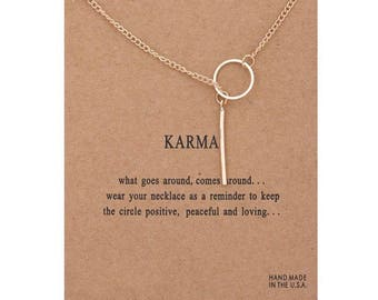 GOLD KARMA drop down message necklace new present gift thoughtful