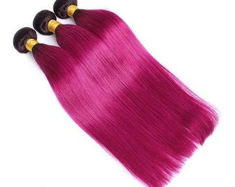 Pink hair extensions etsy pink ombre straight brazilian hair weave bundles 100 human hair bundles 10 24 pmusecretfo Image collections
