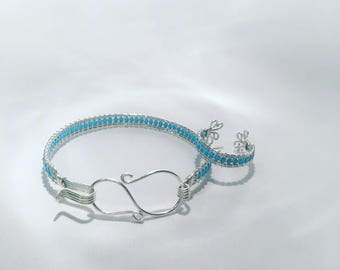 Handmade Sterling Silver Wirework Adjustable Ring with Turquoise Coloured Seed Beads
