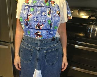 Denim skirt apron with penguins and snowflakes