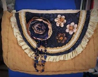 cross body handbag, shoulder bag, ecofriendly, altered couture, purse, tapestry, silk, blue, gold, artistic,