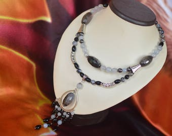 "Necklace - choker agate and quartz ""Atlantis"""