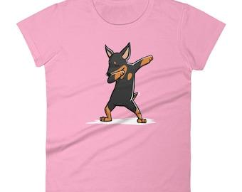 Funny Dabbing Miniature Pinscher Shirt, Cute Dab Dance Dog Gift, Min Pin Women's T-Shirt
