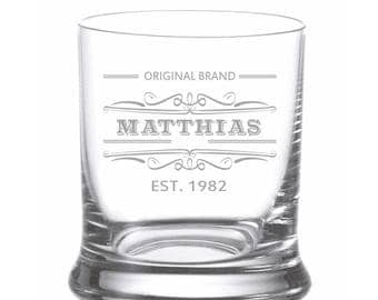 "Leonardo Whisky glass Engraving individually engraved ""original brand"" Wish Name Whiskey Glass whiskey"
