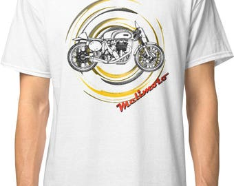 Inished productions Norton inspired classic retro bespoke urban Motorcycle art T-Shirt Melimoto