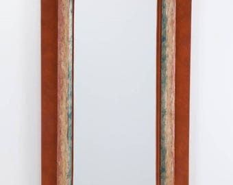 Vintage Suede & Wood Cathedral Shaped Mirror