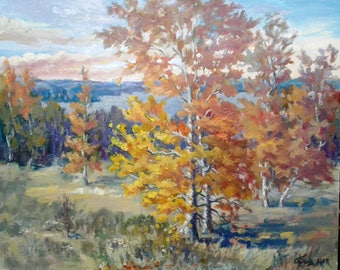 Author's Oil Painting Autumn Landscape Impressionism Landscape on Fiberboard Free Shipping