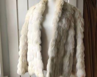 Vintage White Rabbit Fur Coat