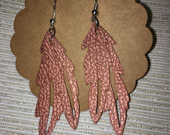 Copper Feather Leather Earrings