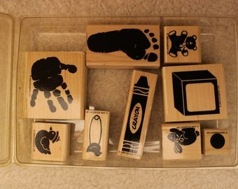 Definitely Decorative Kid Prints Stampin' Up 1998 (Set of 9)