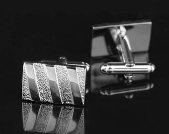 Mens Cufflinks Silver Metal French Style