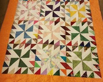 """Scrappy Pinwheel Lap Size Quilt (68"""" x 54""""); Lap Size Quilt; Quilt; Home Decoration; Pinwheel"""