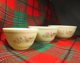3 round bowls from pyrex Bowl forest mushrooms pattern