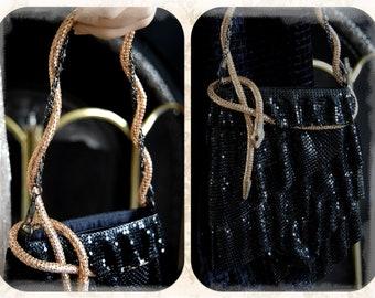 Beautiful Art Deco gold Black chain metal net Snake bag