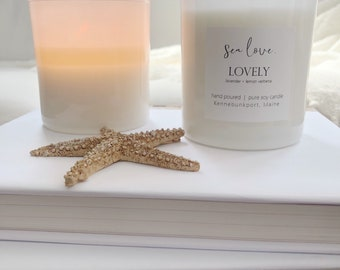 LOVELY • soy candle, lavender, lemon verbena, hand poured soy candle, vegan soy candle, natural candle, Sea Love Candle