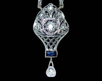 ART DECO 18K White Gold Briolette European Diamond French Sapphire Necklace