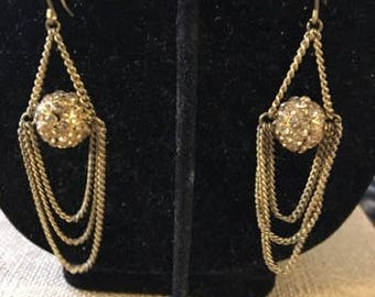 Vintage Pierced Dangle Earrings with a Disco Ball and Chains