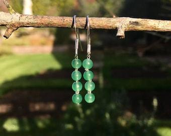 The 'Arial' Handmade semi precious green adventurine and silver hook earrings.
