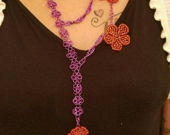 Wire wrapped, beaded necklace