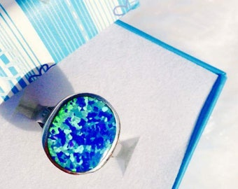 925 silver blue opal ring