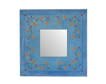 Flower mirror accent 10 inch blue canvas mosaic art geometric floral design decorative upcycled magazine paper collage housewarming gift