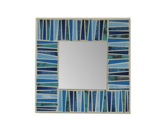 Blue accent mirror recycled magazine paper on canvas 7.8 inch mixed media collage square wall hanging decor decorative geometric handmade