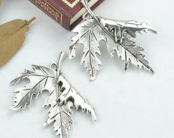 Tree leaves charms, 4 pcs charms, Cute charms, Tibetan silver charms, Alloy charms, Metal charms, Jewelry findings, 55 mm x 47 mm, A368