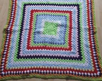 "Crochet rainbow baby blanket 36""x36"""