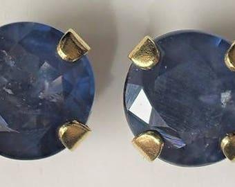 Sapphire Stud Earrings in 10k Yellow Gold