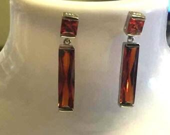 Sterling Silver Rhodium Plated Orange Cubic Zirconia Earrings