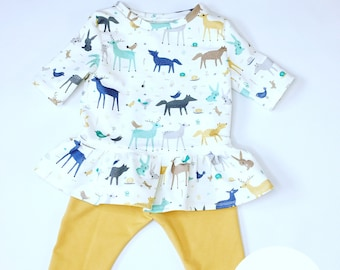 blouse with animals pattern and mustard leggins and elastic headband, animal print, fashion kid, fox, deer