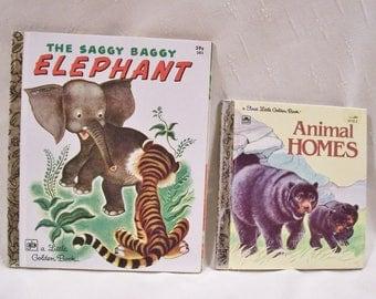 1978 Little Golden Books Saggy Baggy Elephant Children's Book - Vintage First LIttle Golden Book ANIMAL HOMES - Toddler Books - Animal Books