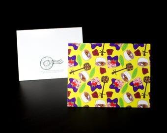 """5.5""""x4"""" Okinawa themed Greeting Card in Yellow"""