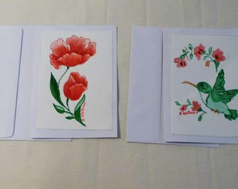 Handmade Greeting Card, Set of 2 hand painted All Occasion Greeting Cards, Floral Greeting Cards, Made in the USA, #34