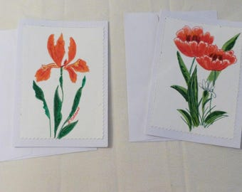 Handmade Greeting Card, Set of 2 hand painted All Occasion Greeting Cards, Floral Greeting Cards, Made in the USA, #35