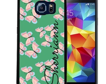 Personalized Rubber Case For Samsung S5, S6, S6 edge, S6 Edge Plus, S7, S7 Edge,  8, 8 plus -  Teal Pink Butterflies
