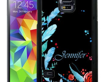 Personalized Rubber Case For Samsung S5, S6, S6 edge, S6 Edge Plus, S7, S7 Edge,  8, 8 plus -  Blue Black Feathers