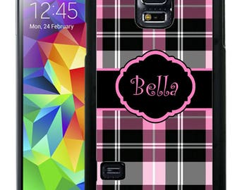Personalized Rubber Case For Samsung S5, S6, S6 edge, S6 Edge Plus, S7, S7 Edge,  8, 8 plus - Black and Pink Plaid