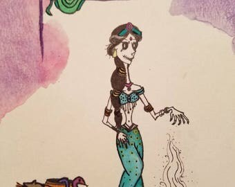 Jasmine Disney Gothic princess watercolor
