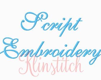 50% Sale!! Script Embroidery Fonts 3 Sizes Fonts BX Fonts Embroidery Designs PES Fonts Alphabets - Instant Download